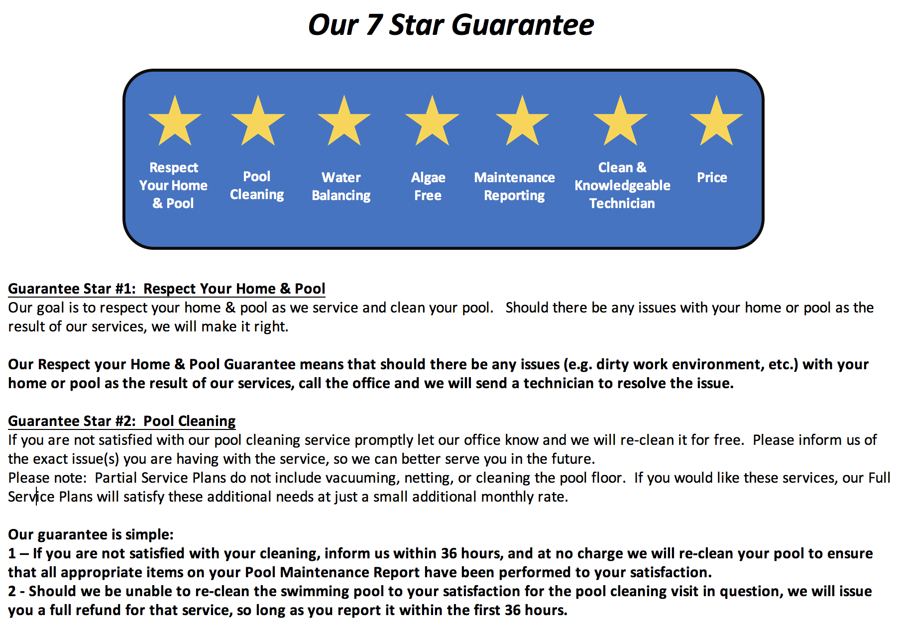 7 Star Lago Vista Pool Service Guarantee